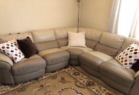 Harveys Beige & Cream Leather Corner Sofa RRP £3200