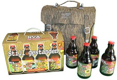 NVA DDR Bier Ostalgie Ostpils + Original NVA Tasche Sturmgepäck Strichtarn Armee