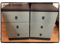 A Pair of Bedside Tables Hand Painted in ANNIE SLOAN Graphite & Duck Egg Chalk Paint