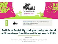 Ecotricity are offering a FREE TICKET TO WOMAD FESTIVAL if you switch to them by 8th June.