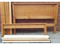 king-size pine bed frame. Used but good condition (£105 with Ortho mattress, or £54 without mattress