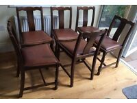 Set of 6 vintage low-back dining chairs for sale, York