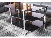Smoked glass and chrome TV stand and shelves