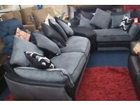 BRAND NEW*Bentley i corner sofa with docking station*leather/fabric*Black/Grey*320 x 95cm*