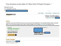 Receipt for - XBOX ONE X 'Project Scorpio Edition' - 1TB - Pre-Order