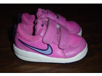 Nike Pico 4 Infant Toddler GIRLS Velcro Leather Trainers pink/lilac