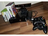 Xbox 360 2 controller kinect + 15 games 2 battery pack Excellent condition!