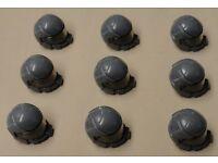 x9 NEW Lego Army Minifig Headgear Space Hat w// VISOR Dark Bluish Gray