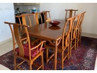 Chinese Antique Elmwood Dining Table With Eight Chairs