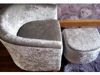 crushed velvet tub chair & matching footstool ,2 weeks old ,silver