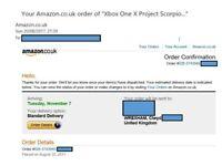 RECIEPT for xbox one x project scorpio editon pre-order