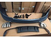 C63 AMG STYLE REAR BUMPER COMPLET WITH TWIN EXHAUSTS DIFFEUSER FOR MERCEDES BENZ 07-14 W204 C63