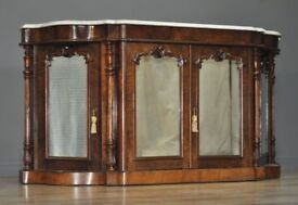 Attractive Antique Victorian Carved Walnut Marble Top Sideboard Credenza