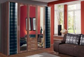 **7-DAY MONEY BACK GUARANTEE!** Yvonne 5 Door German Imperial Wardrobe - SAME DAY DELIVERY!