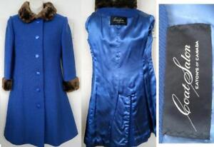 XS EATONS CANADA Long Wool Coat Sheared Beaver Real Fur AUCKIE SANFT Blue 2P