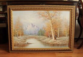 £80 ono! Oil Painting on Canvas, Autumn Landscape with Mountains, Framed, Signed