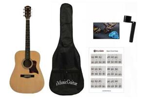 Exquisite Acoustic Guitar with Package for beginners Natural Full Size iMusic579
