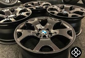 """4 X GENUINE 19"""" BMW X5 TIGER CLAW ALLOY WHEELS - Finished in Gloss Black with Candy Red Flakes"""