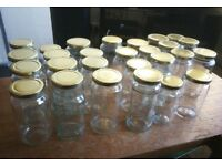 42 RECYCLED GLASS STORAGE FOOD JARS WITH NEW METAL GOLD LIDS