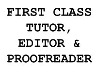 Professional Creative Writing Tutor, Editor and Proofreader