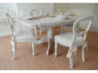 !!! CHRISTMAS SALE !!! UNIQUE & BEAUTIFUL !!! French Antique Shabby Chic Dining Table & Four Chairs!