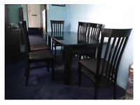 Midnight blue and black table and chairs