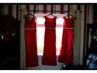 TRUE BRIDE Ladies Red Sleeveless Boat Neck Bridesmaid Maxi Dress (3 dresses)