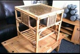 Coffee Table Vintage Bamboo or Cane