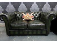 Stunning Refurbished Chesterfield 2 Seater Sofa in Green Leather - UK Delivery