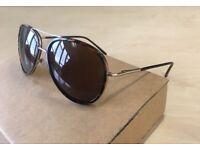 Mens H&M Pilot Aviator Sunglasses / brown gold tortoiseshell cat eye havana round black