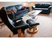 Three Piece Leather Sofa Set - x1 3 seater sofa, x1 2 seater sofa, x1 reclining armchair + footstool