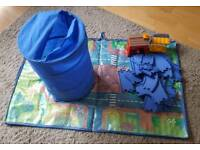 Happyland play mat and various figures