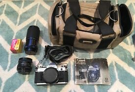 Canon AE-1 with 2 lenses and flash