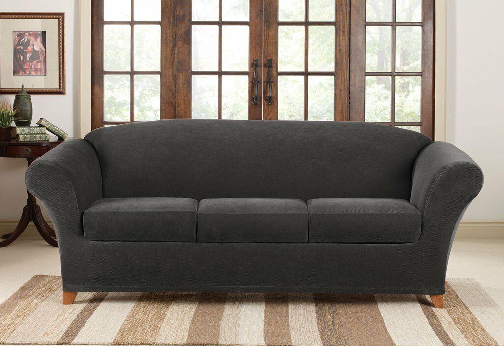 NEW Sure Fit jet black 4 piece Pique Sofa sure fit surefit s