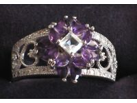 """NEW """"Twilight Lavender"""" Amethyst And Topaz Ring"""