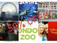 50% OFF!!! London Zoo/London Eye/Madame Tussaud's/SeaLife/Aquarium/Shrek's Adventure/London Dungeon