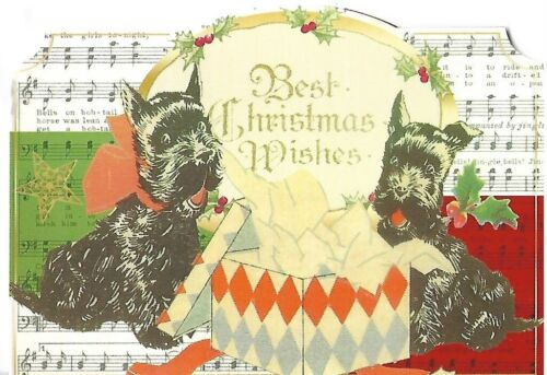 """PUNCH STUDIO Christmas Card - approx 5 x 4"""" - Two Black Terriers"""