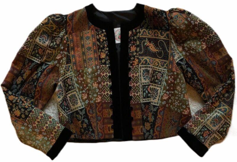 Vtg German Kruger Dirndl Berchtesgaden Lined Coat/jacket sz 44 EUC Velvet Trim