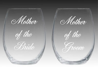 Mother of the Bride and Mother of the Groom stemless wine glasses engrave custom (Bride And Groom Wine Glasses)