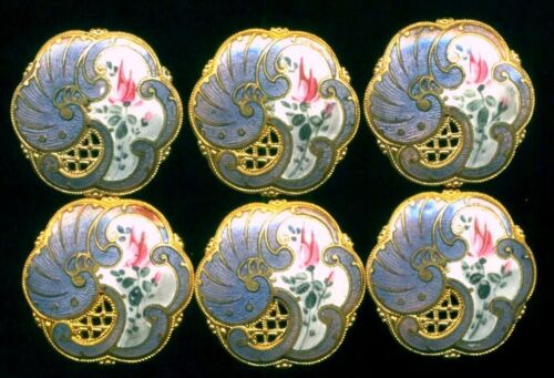 Set of 6 Beautiful Antique Enamel Buttons…Pierced with Pink Rose…Pretty Shape
