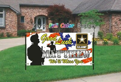U.S. Army Going Away Banner - Good Luck We'll Miss You 13oz woven mesh banner