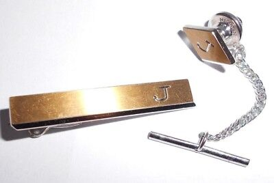 Vintage Hickok USA Gold Tone Engraved J Tie Clip and Pin set for sale  Knoxville