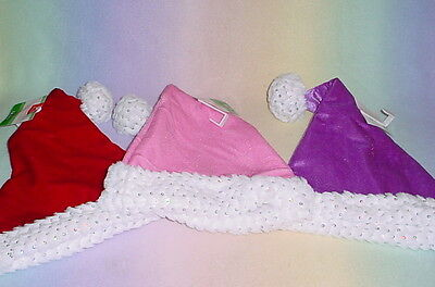 Colorful Santa Hats (HOME ELEMENTS * SPARKLE SANTA HAT * MEDIUM * 17 INCHES * NEW * 3 COLORS)