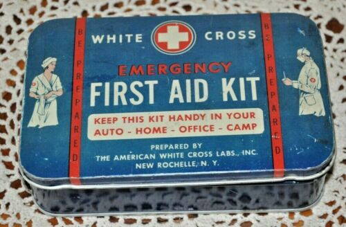 Vintage White Cross Emergency First Aid Kit Tin & Instruction Pamphlet