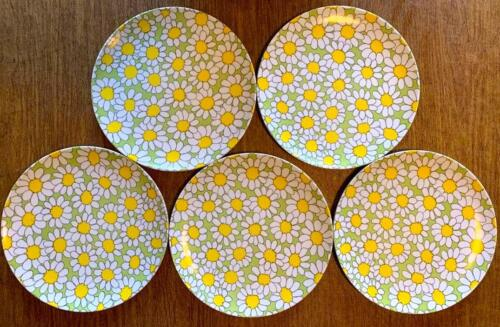 """Vintage Texas Ware Daisy Flower Dinner Plates 10"""" Green Yellow White Lot of 5"""
