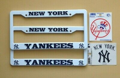 NEW YORK YANKEES 2 LICENSE PLATE FRAMES + TWO 3.5