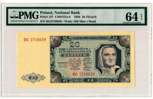 🌠POLAND, Genuine 20 zloty. National Bank. Pick#137. 64 EPQ Choice UNC .1948.