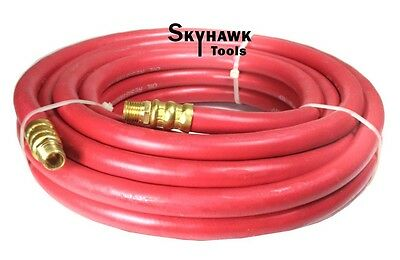 """1/4"""" NPT Fitting  3/8'' X 25' Air Compressor 25 FT Red Rubber Air Hose 300 PSI"""