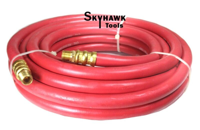 "1/4"" NPT Fitting  3/8'' X 25' Air Compressor 25 FT Red Rubber Air Hose 300 PSI"