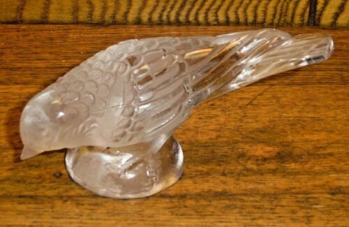 Art Glass Frosted Head Down Sparrow Figurine